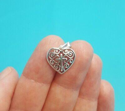 Beautiful Shiny Sterling Silver Filigree Heart Thin Cross Pendant Charm 925 TH Sterling Silver Filigree Heart Charm