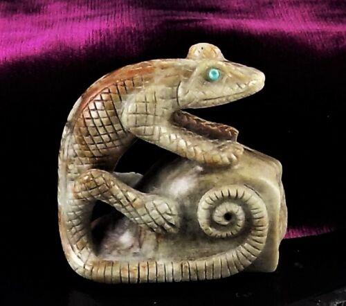 ZMT New, Zuni Lizard Fetish by Fabian Cheama - Picasso Marble Stone