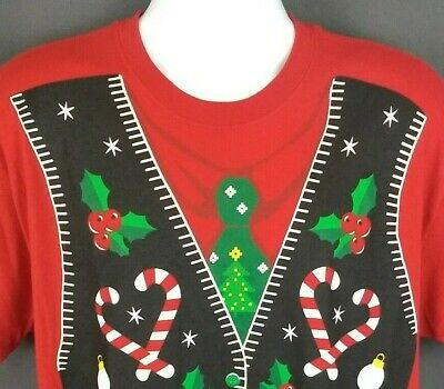 Ugly Christmas Sweater Red Candy Cane Vest & Tie Graphic T-Shirt Adult L (Ugly Sweater T-shirt)