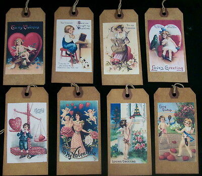EIGHT VALENTINE HANG TAGS - VINTAGE PRIMITIVE  DESIGNS
