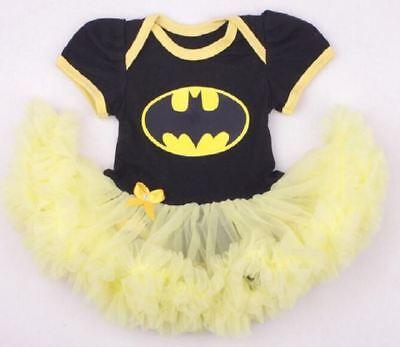 BABY GIRLS BATMAN BATGIRL ROMPER TUTU COSTUME with free headband - SIZE 000-2  - Infant Batgirl Costume