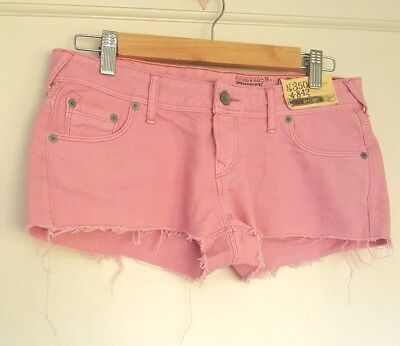 """Jack Wills Pink Denim Mini Shorts Size 26"""" Waist UK 8 New With Tags for sale  Shipping to Ireland"""