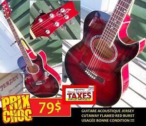 DERNIER JOUR PAS DE TAXES Guitare acoustique usagée JERSEY cutaway flamed red burst ET +