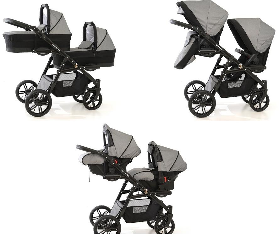 Duet ONYX Zwillingskinderwagen Geschwisterwagen Kinderwagen 3 in1 mit Babyschale