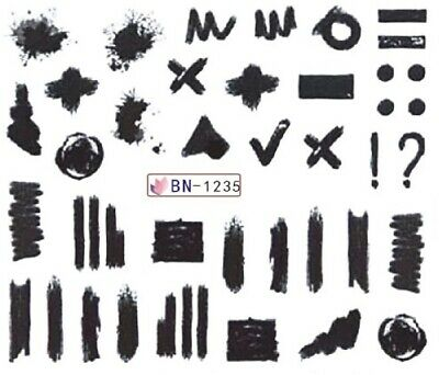 1235 Transfer (Nail Art Stickers Water Decals Transfers Black Felt Tip Doodles (BN1235))