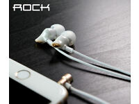 Original ROCK Zircon Stereo 3.5mm Earphones with Microphone and Remote White