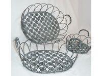 Three Matching Metal Baskets Vintage Rustic Wire Storage / Display Shop Decor Interior Design