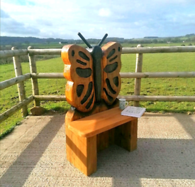 Chainsaw Carved Butterfly Bench/ Seat /Garden Sculpture.With Delivery.