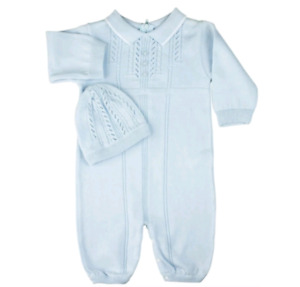 Beautiful pale blue baby romper with hat