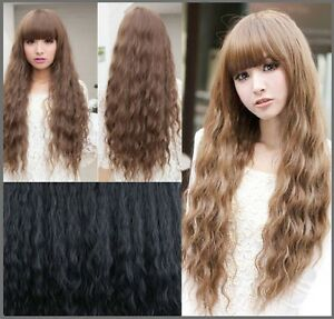 Long Wavy Curly High Quality Wig 55-65cm , brown, black, light b