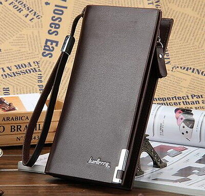 Men's Leather Bifold ID Card Holder Long Wallet Purse Checkbook Clutch (Id Coin Purse)
