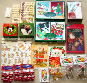 LARGE LOT OF VINTAGE CHRISTMAS ITEMS ORNAMENTS & HALLMARK CARDS