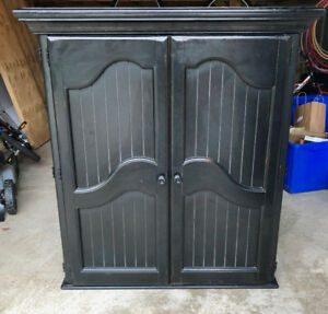 Black Solid Wood Armoire