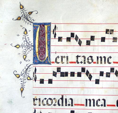 ILLUMINATED MANUSCRIPT GREGORIAN CHANT MUSIC LEAF, SEVILLE 1460, GOLD INITIALS