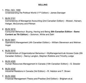 SELLING MUN TEXTBOOKS
