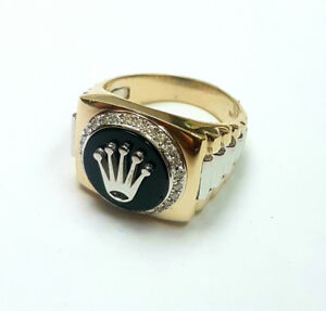 Rolex style 14k gold ring with Diamonds and Onyx
