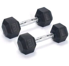 Men's Health Rubber Hex Dumbbell Set - 2 x 5kg Weights