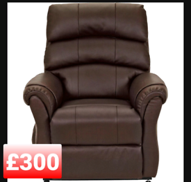 Leather power recliner chair. Dark brown.