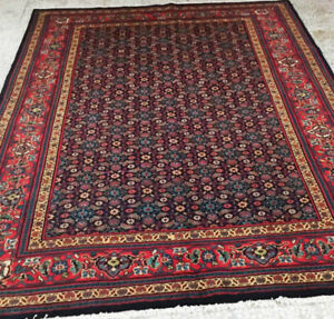 Hand Knotted persian Rug,Wool,9.10 x 6.7 ft,Navy Blue,rust