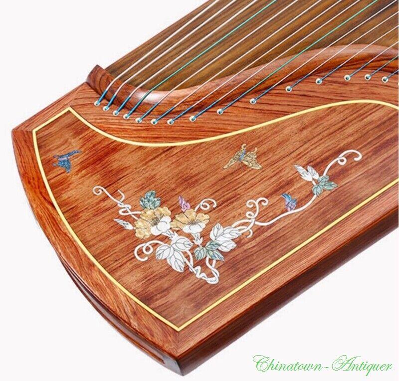 "Collection Grade 64"" Chinese 21-String GuZheng Zither Harp Koto 老花梨螺钿工藝 古筝 #2958"