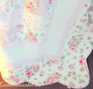 Sofaüberwurf Stella 245x265 Plaid Quilt Tagesdecke Weiß Rosa ROSALI Shabby Landh