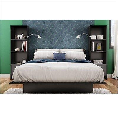 Black 3-Piece Queen Bed Bookcase Nightstand Furniture Set Bedroom Home Living ()