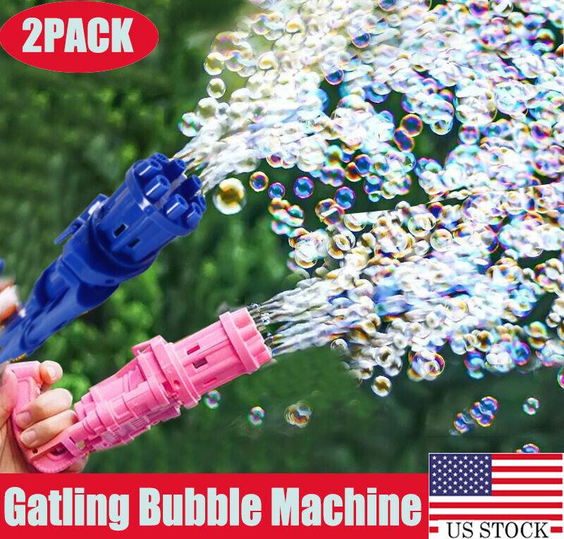 2x Gatling Bubble Machine Bubbler Maker Automatic Bubble Toy Gun For Kid Outdoor