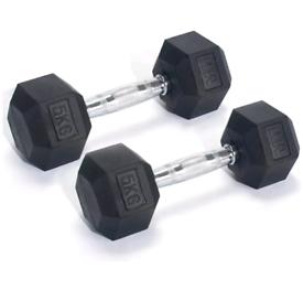 Men's Health Rubber Hex Dumbbell Set - 2 x 5kg Weights