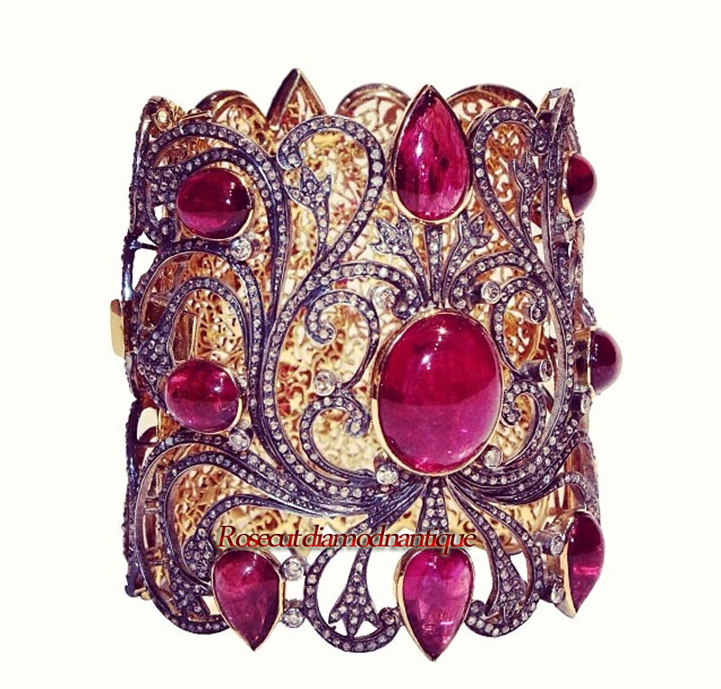 ESTATE ARTDECO VINTAGE ROSE CUT DIAMOND 8.52ct SILVER RUBY AMAZING LOOK BRACELET