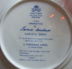 "1980 Aynsley Christmas Plate ""Marleys Ghost"" - A Christmas Carol Kitchener / Waterloo Kitchener Area image 3"