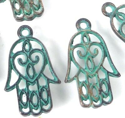 10 Hamsa Hand Charms Palm Protection Antique Bronze Pewter Green Patina 21x13mm Hamsa Hand Protection