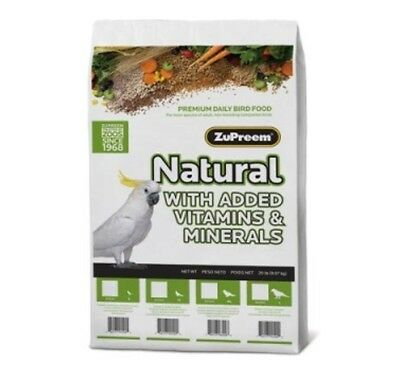 Zupreem natural Large parrot diet bird food mineral vitamins macaw cockatoo 20lb