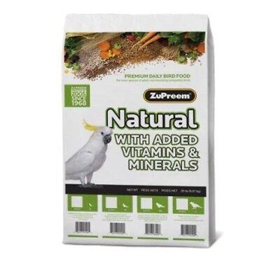Zupreem natural diet bird food mineral vitamins Large macaw cockatoo Avian 20lb