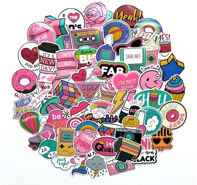 1980s 80s Theme Girly Girl Sticker Bomb Pack, Pink Vinyl PVC, Laptop Decal Lot](1980s Theme)