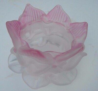 Satin Rose Pink Tip Petal Flower Glass Shade Statue Lamp Fixture Chandeler