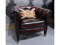 Refurbished Chesterfield Tub Chair in Rust Brown Leather - Uk Delivery