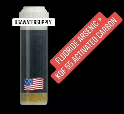 Water Filter Fluoride Arsenic + KDF 55 Activated Carbon Block Cartridge: 10""