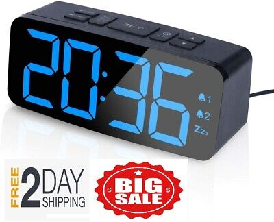 Digital Alarm Clock with FM Radio-Large Smart LED Display, Snooze Function