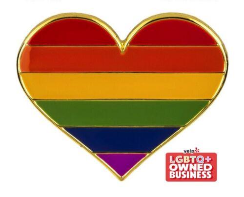 """Rainbow (6 Stripes) Heart Pin 1"""" x 1"""" Gay Lesbian Pride LGBTQIA Hat Tie Tack"""