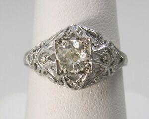 ANTIQUE PLATINUM .85CT TW DIAMOND RING FILIGREE VINTAGE ENGAGEMENT ESTATE