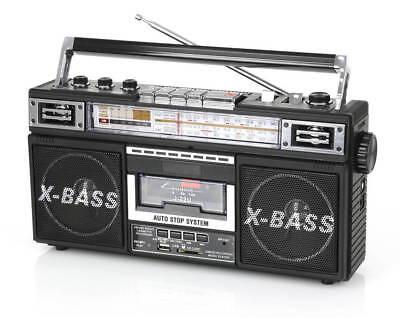 QFX Retro Collection 4-Band Radio & Cassette to MP3 Converter Boombox