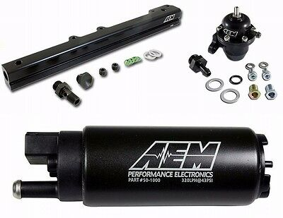 AEM Fuel Pressure Regulator+Fuel Rail+320lph Fuel Pump B-Series B16 B18C GSR SI