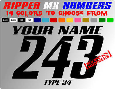 RIPPED NAME MX NUMBER PLATE DECALS SUPERCROSS STICKERS GRAPHICS DIRT BIKE SX BMX