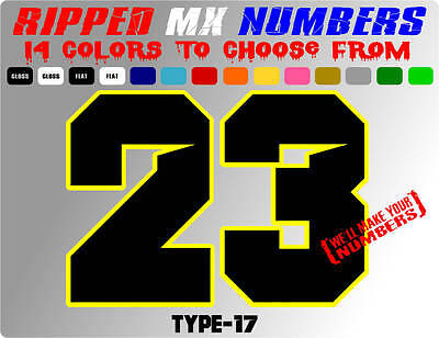 RIPPED 2 COLOR MX NUMBER PLATE DECALS MOTORCYCLE GRAPHIC STICKERS SX DIRT BIKE