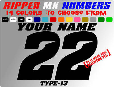 RIPPED NAME MX NUMBER PLATE DECALS MOTOCROSS STICKERS DIRTBIKE GOKART RACE SX RC