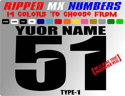 RIPPED NAME MX NUMBER PLATE DECALS MOTOCROSS STICKERS ATV BMX DIRT BIKE RACE CAR