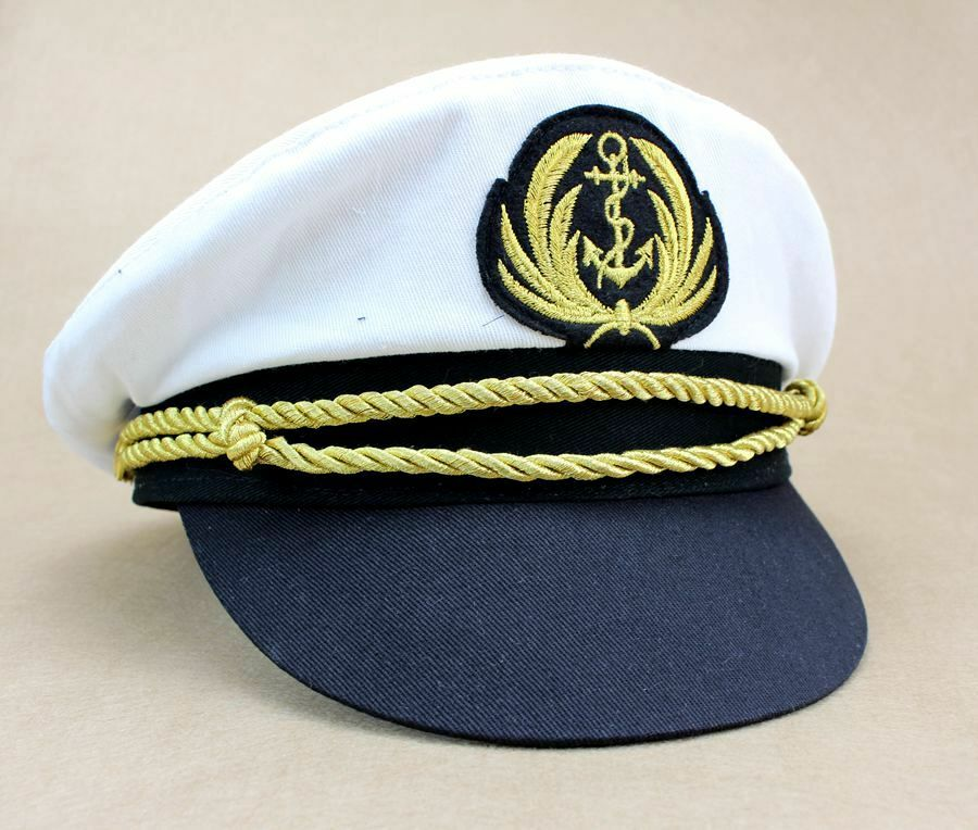 Details about Deluxe Captain Hat Navy Cap White Gold Black Captains Marine  Costume Accessory 74ab64f1eed