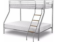 Attractive Design !! Double Bottom & Single Top - Brand New Triple Metal Bunk Bed