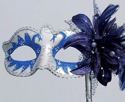 BLUE & SILVER VENETIAN MASQUERADE PARTY PROM  EYE HAND HELD MASK ON A STICK - Venetian Masquerade Masks On A Stick