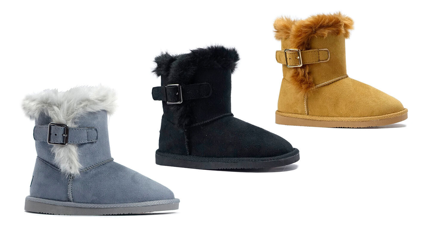 NEW Girls Classic Mid Snow Boots Buckle Unisex Winter Flat H